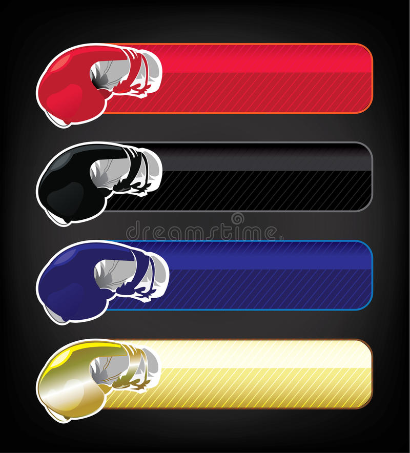 Boxing gloves banner set stock illustration