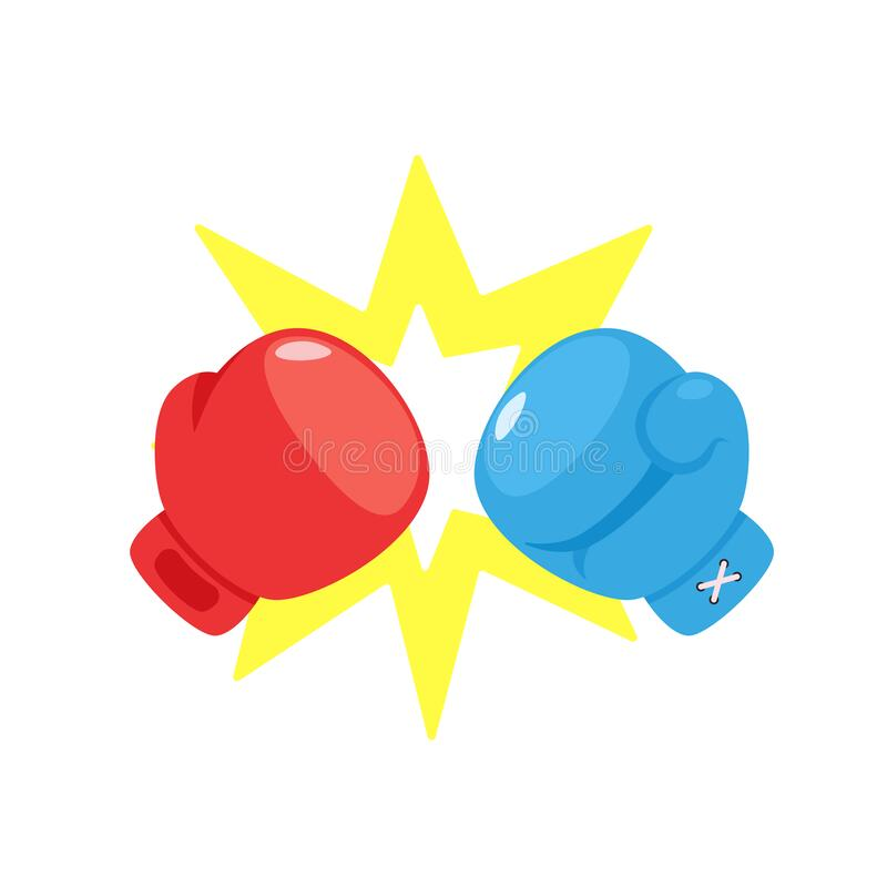 Free Boxing Gloves Fighting Concept Red Versus Blue Royalty Free Stock Images - 217220659