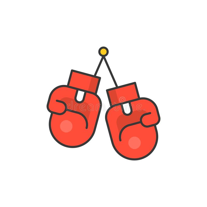 Boxing gloves icon. Boxing gloves , filled outline icon royalty free illustration