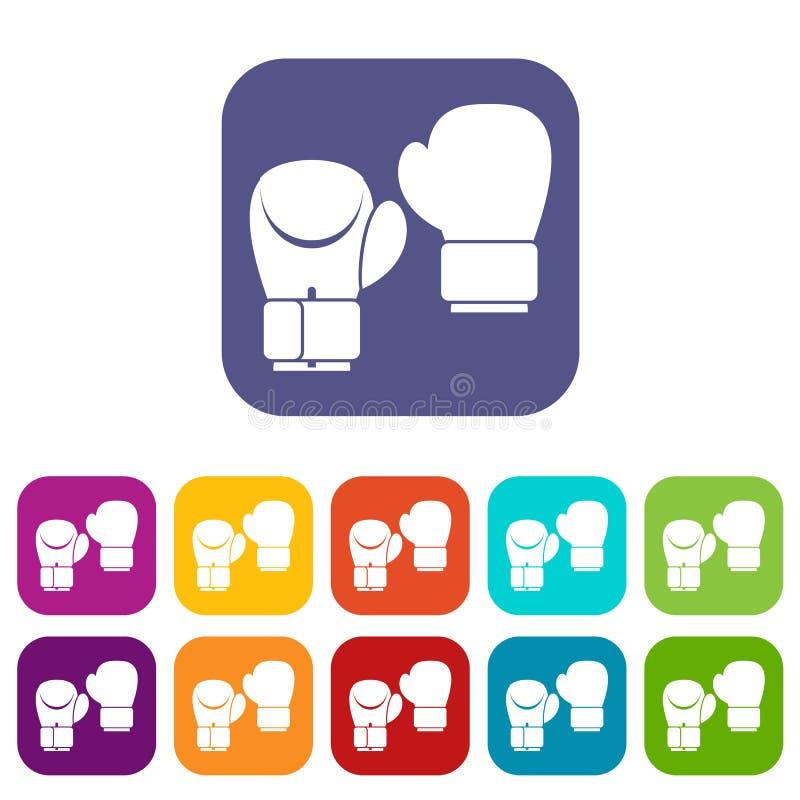 Boxing gloves icons set vector illustration