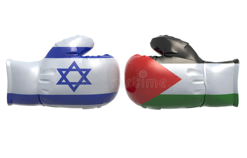 Boxing gloves with Israel and Palestine flag. 3d illustration royalty free illustration