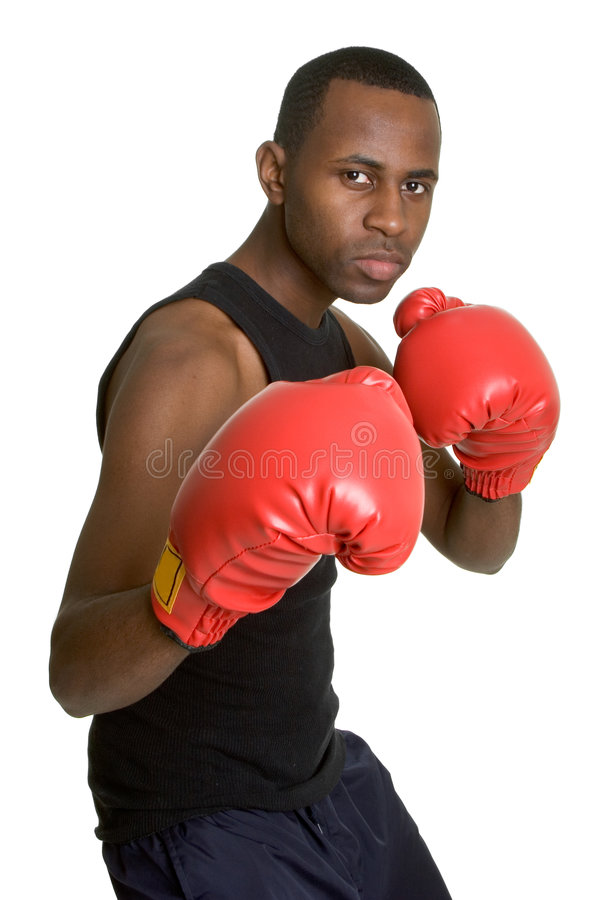 Boxing Gloves Man. Handsome isolated boxing gloves man royalty free stock photos