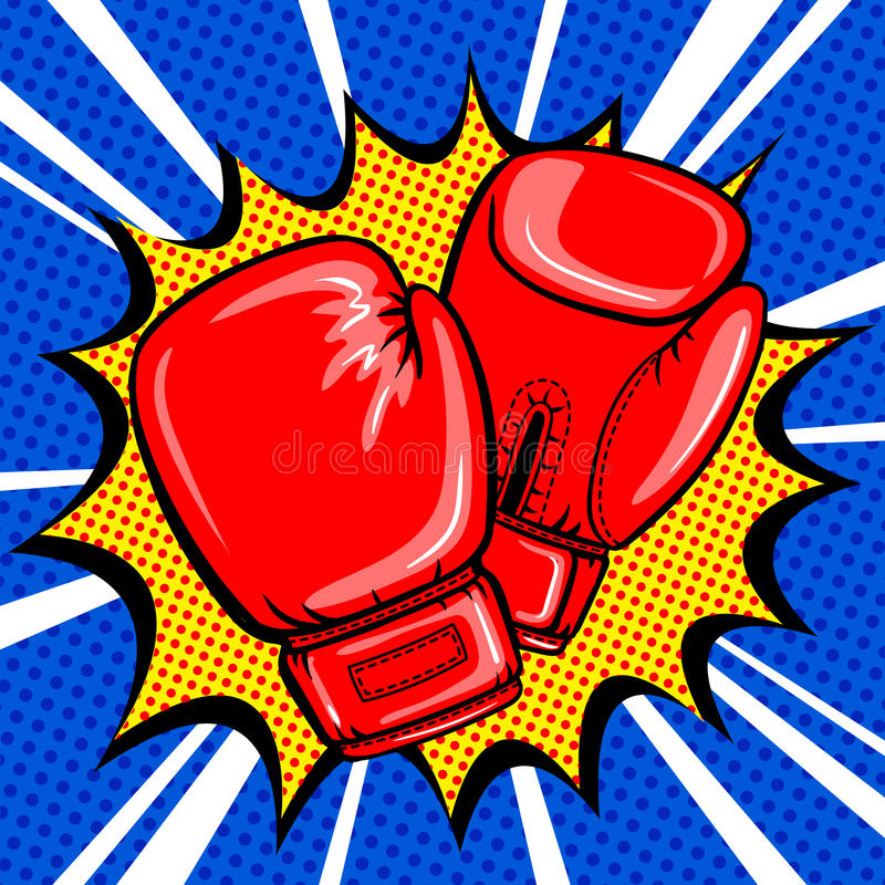 Boxing gloves pop art style vector. Illustration. Comic book style imitation royalty free illustration