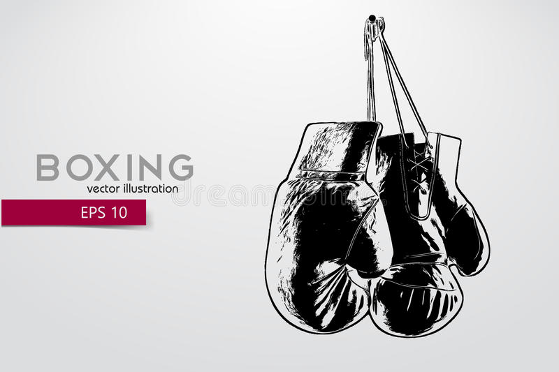 Boxing gloves silhouette. Background and text on a separate layer, color can be changed in one click. Boxer. Boxing. Boxer silhouette royalty free illustration