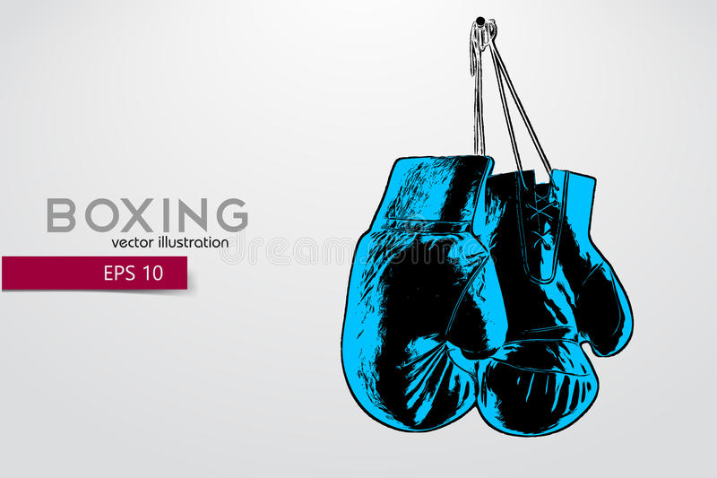 Boxing gloves silhouette. Background and text on a separate layer, color can be changed in one click. Boxer. Boxing. Boxer silhouette stock illustration