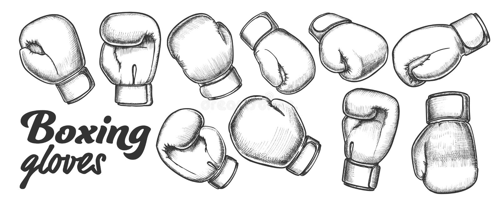 Boxing Gloves For Sport Competition Set Ink Vector stock illustration