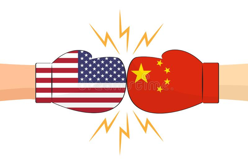 Boxing gloves between USA and China flags on white background. Vector illustration vector illustration