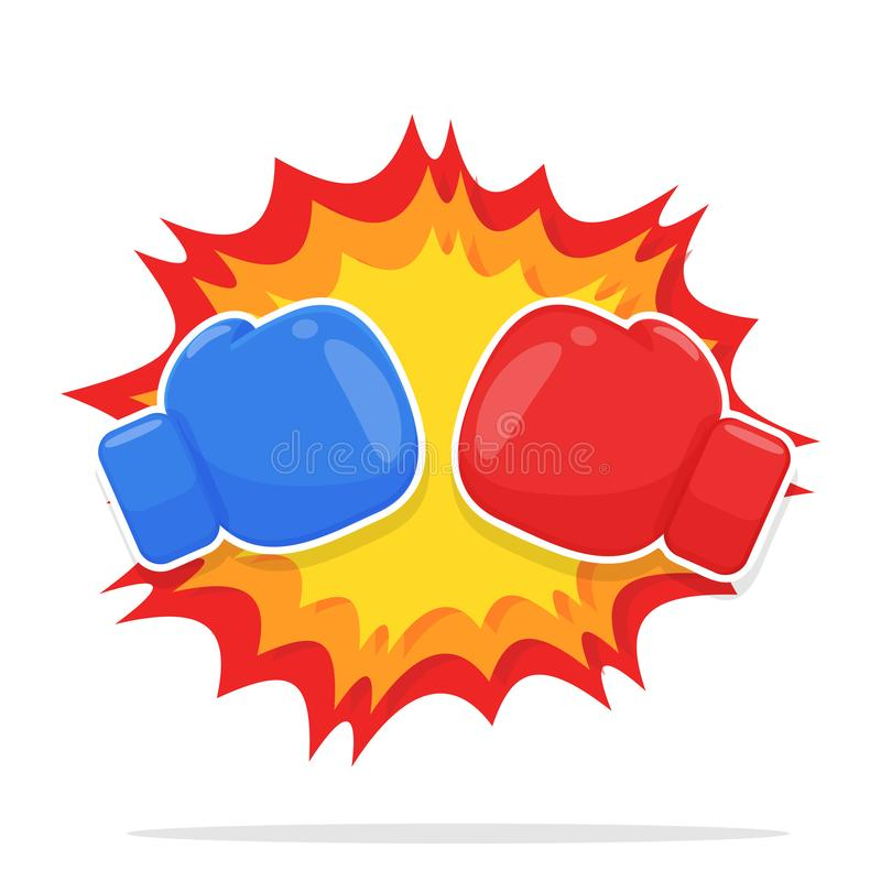 Boxing Gloves Vector. Red and blue boxing gloves that are fighting. isolate on white background royalty free illustration