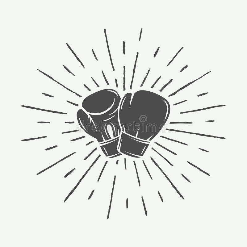 Boxing gloves in vintage style. Monochrome graphic Art. vector illustration