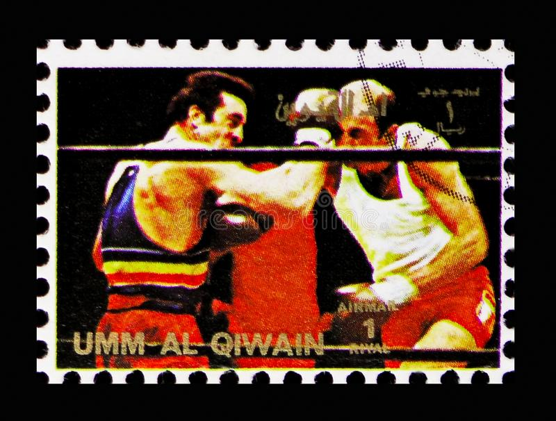 Boxing, History of the Olympic Games serie, circa 1972 royalty free stock photography