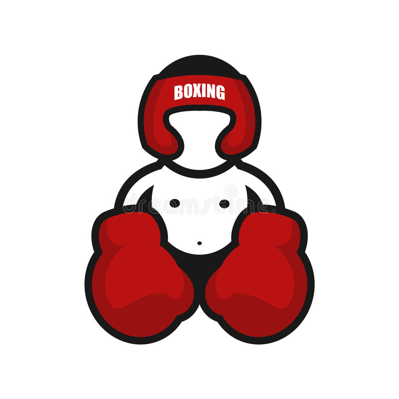 Boxing icon 2. Boxing man with big gloves royalty free illustration
