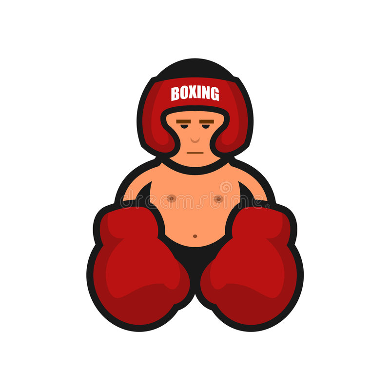 Boxing icon. Boxing man with big gloves royalty free illustration