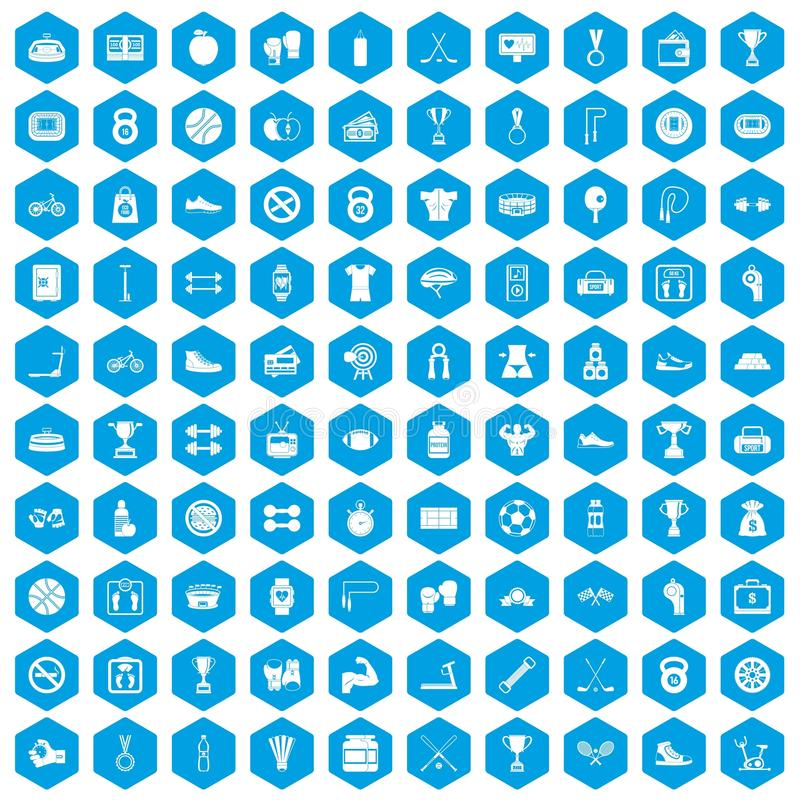 100 boxing icons set blue royalty free illustration