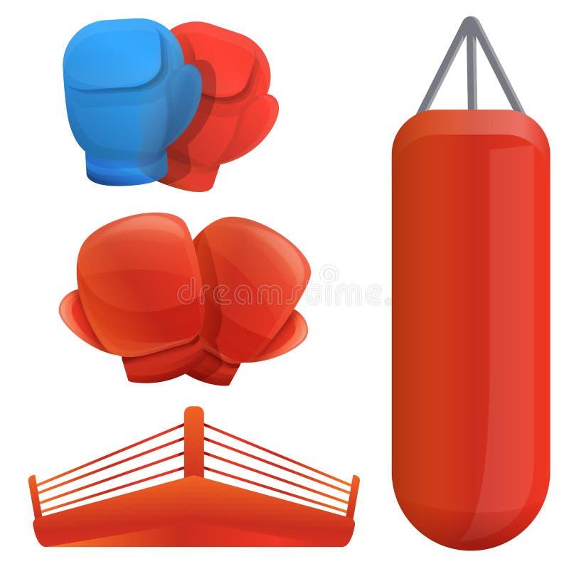 Boxing icons set, cartoon style stock illustration