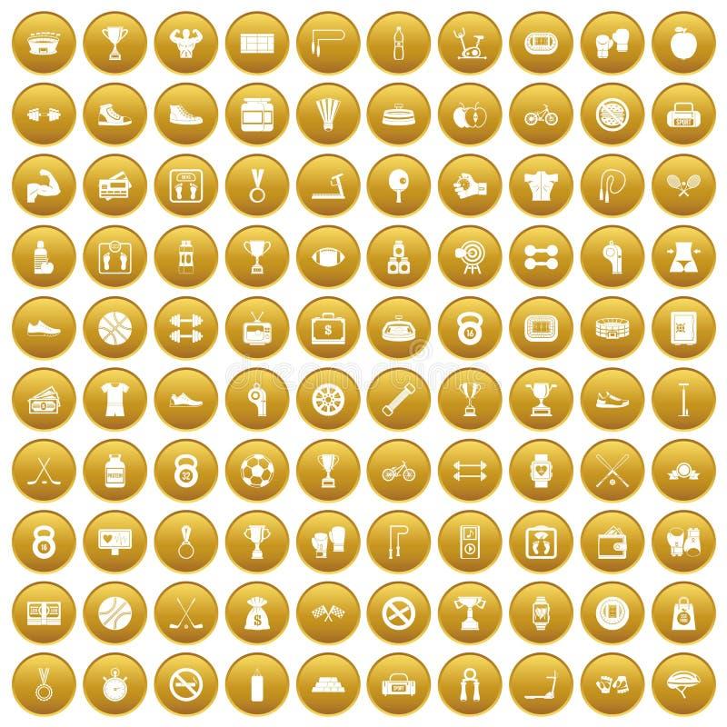 100 boxing icons set gold stock illustration