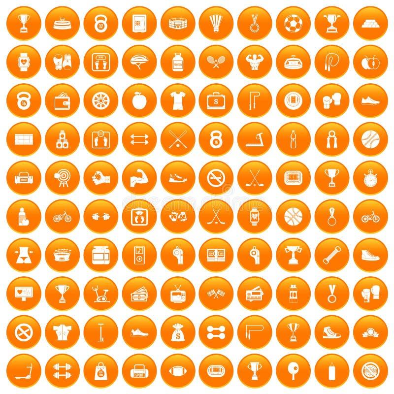 100 boxing icons set orange royalty free illustration