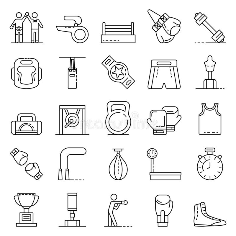 Boxing icons set, outline style royalty free illustration