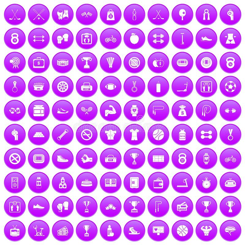 100 boxing icons set purple vector illustration