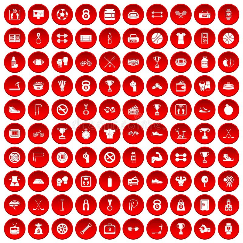 100 boxing icons set red vector illustration