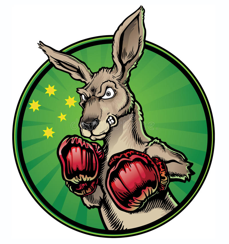 Boxing Kangaroo. A boxing kangaroo, the national mascot of Australia royalty free illustration