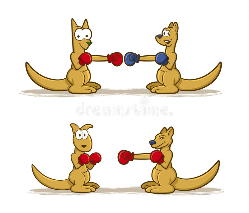 Boxing Kangaroo Set. Collection of Kangaroo cartoons wearing boxing gloves vector illustration