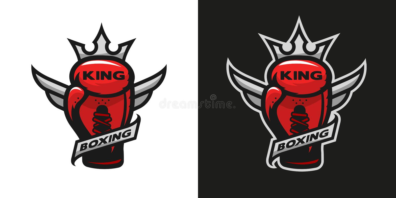 Boxing King. Boxing glove logo. Boxing King. Boxing glove logo Two version royalty free illustration