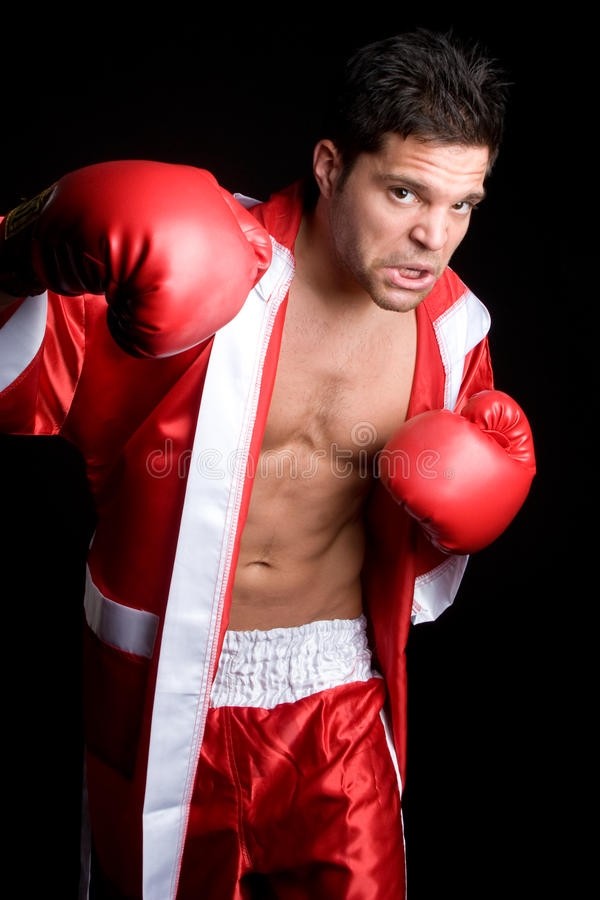 Boxing Man. Angry boxing man wearing robe stock images