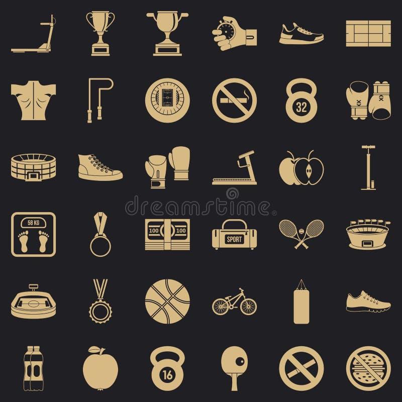 Boxing man icons set, simple style royalty free illustration