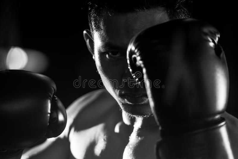 Boxing man ready to fight. Black and white stock photo