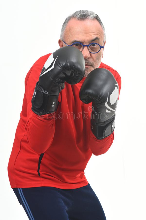 Boxing man on white. Background stock images