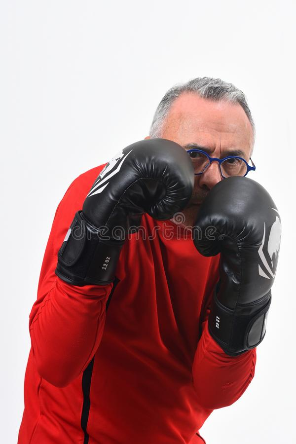 Boxing man on white. Background stock photography