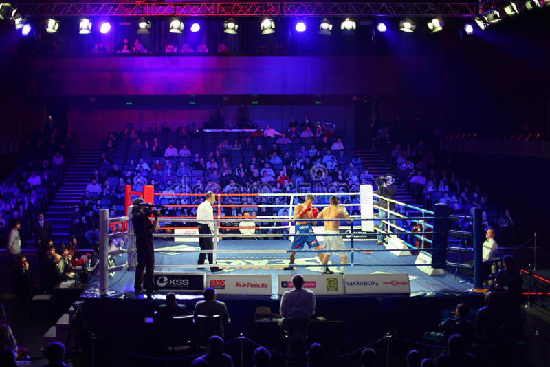 Boxing match D.Arustamyan vs. A.Vastin royalty free stock image