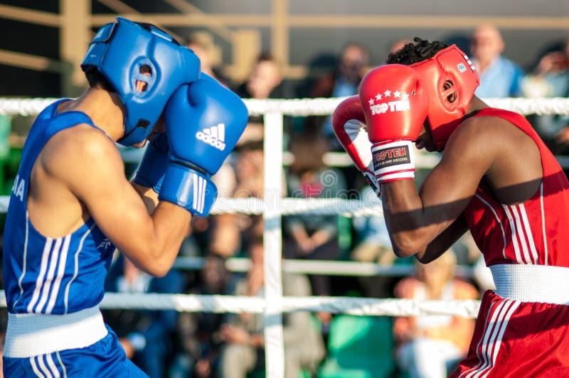 Boxing match. ORENBURG, ORENBURG region, RUSSIA, 25 July, 2014 year. Youth meeting on the boxing match between Russia and Cuba. A boxing match between Alayn royalty free stock photos