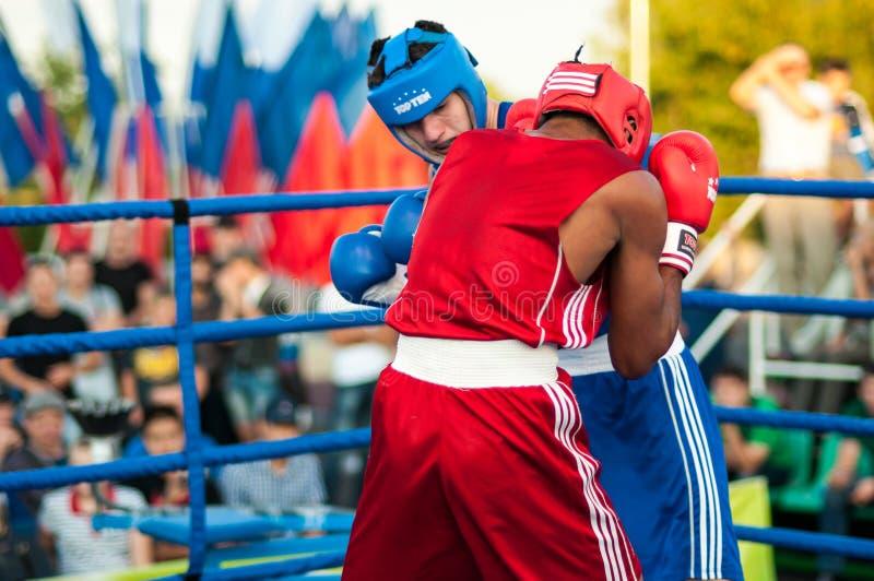 A boxing match Osleys Iglesias, Cuba and Salah Mutselkhanov, Russia. Victory Osleys Iglesias stock images