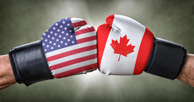 Boxing match between the USA and Canada. A boxing match between the USA and Canada stock photography