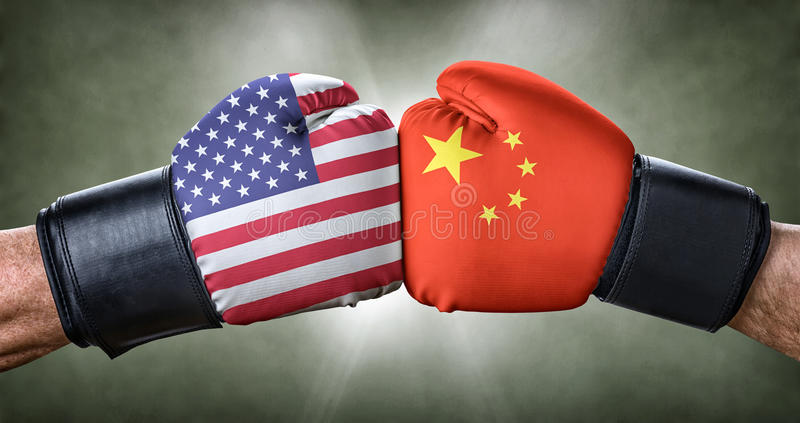 Boxing match between the USA and China. A boxing match between the USA and China royalty free stock image