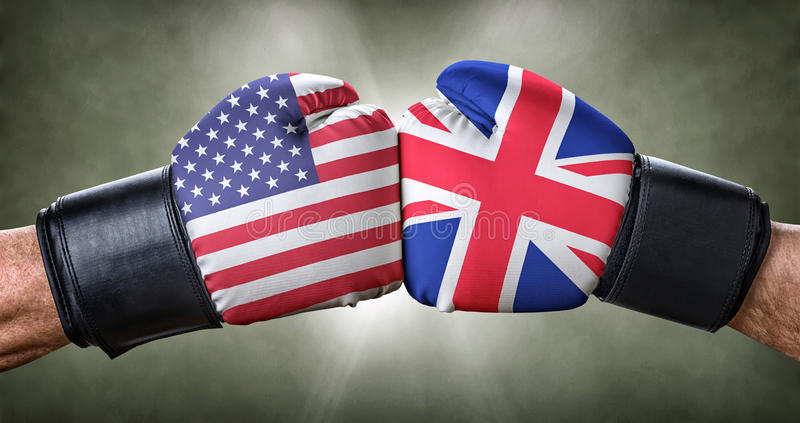 Boxing match between the USA and the UK royalty free stock images