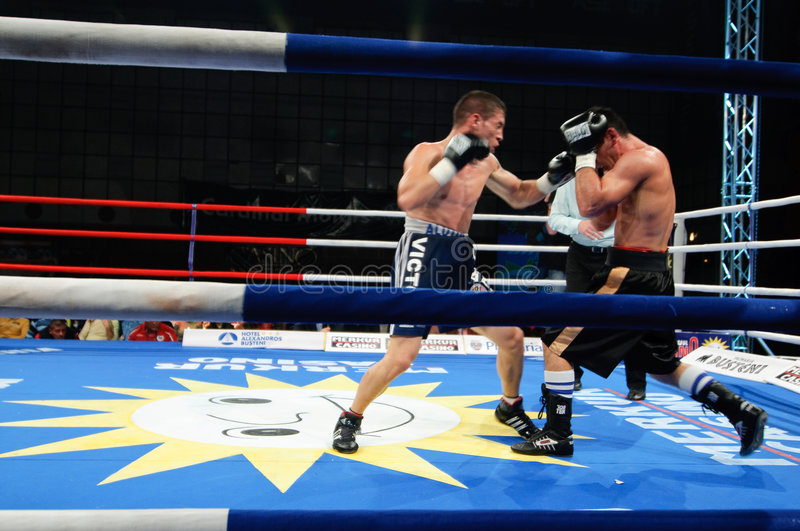 Boxing Match for the WBS Mediteranean Title. The Boxing Match for the WBS Mediteranean Title between Viorel Simion (Romania) and Zolt Nagy (Hungary). The 58.967 royalty free stock photography