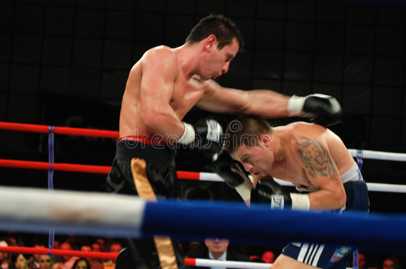 Boxing Match for the WBS Mediterranean Title. The Boxing Match for the WBS Mediteranean Title between Viorel Simion (Romania) and Zolt Nagy (Hungary). The 58.967 stock images