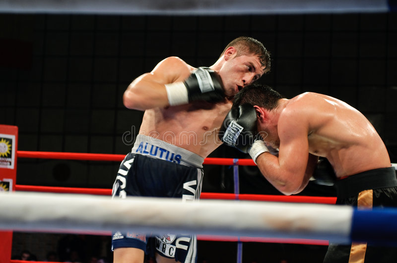 Boxing Match for the WBS Mediterranean Title. The Boxing Match for the WBS Mediteranean Title between Viorel Simion (Romania) and Zolt Nagy (Hungary). The 58.967 stock photo