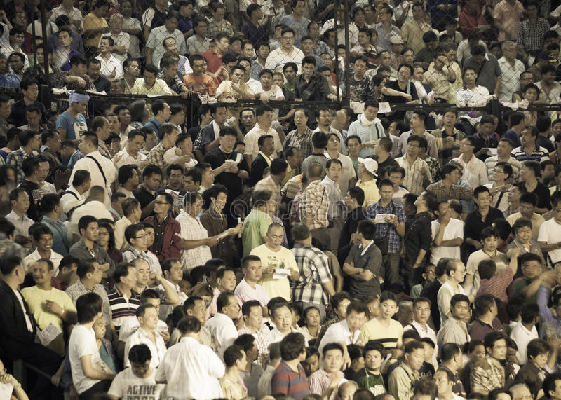 Boxing Muay Thai Charity and crowd. BANGKOK, THAILAND- OCTOBER 04 : Unidentified people crowd come to see boxers compete in Thai Fight: Muay Thai Charity on royalty free stock image