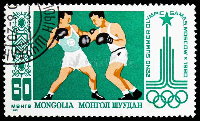 Boxing, 22nd Summer Olympic games Moscow '80 serie, circa 1980 royalty free stock images