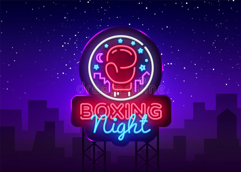 Boxing neon sign vector. Boxing Night Design template neon sign, Fight light banner, neon signboard, modern trend design. Nightly bright advertising, light stock illustration