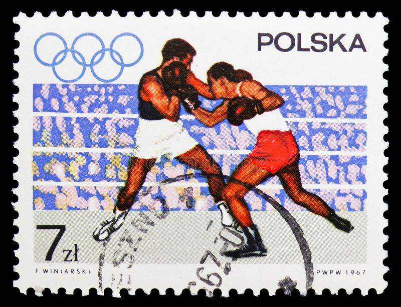 Boxing, Olympic appeal serie, circa 1967 stock images