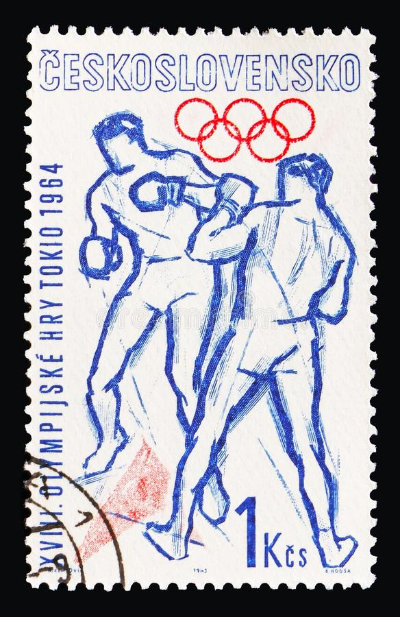 Boxing, Olympic Games 1964 - Tokyo serie, circa 1963 stock photography