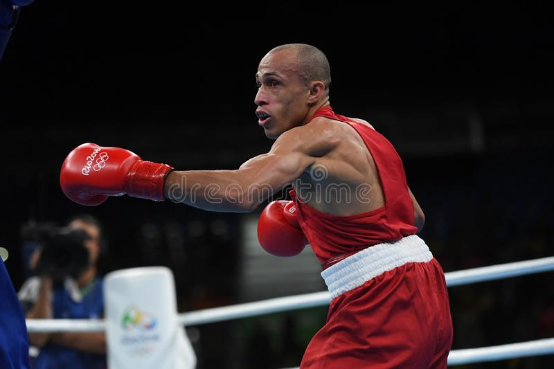 Boxing olympic sport. Boxing match  at the 2016 Olympic Games in Rio de Janeiro, photos stock photography