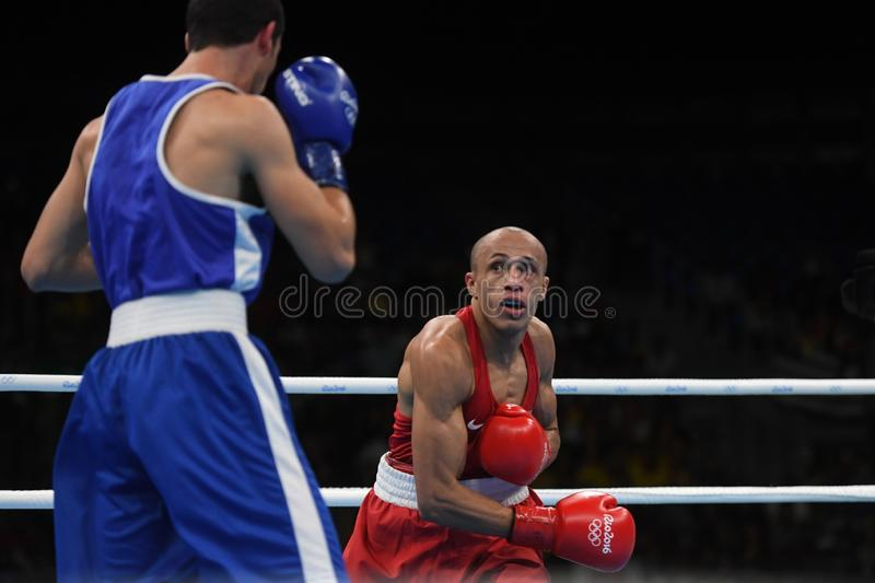 Boxing olympic sport. Boxing match  at the 2016 Olympic Games in Rio de Janeiro, photos stock photos