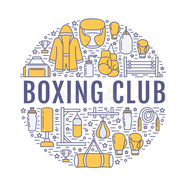 Boxing poster template. Vector sport training line icons, circle illustration of equipment - punchbag, boxer gloves. Ring, heavy bags. Box club banner with stock illustration