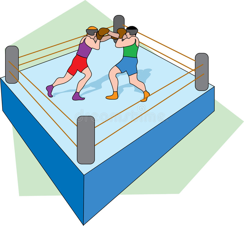 Boxing Ring. Two boxers fighting in a ring with green background vector illustration