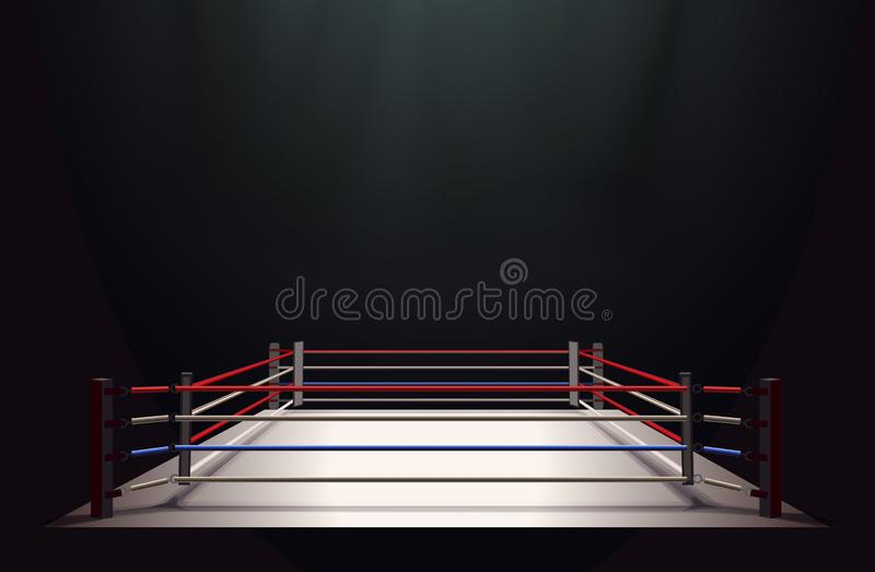 Boxing ring isolated on black abstract background lit by a spotlight royalty free illustration